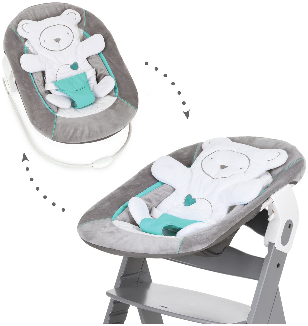 Image of Hauck Alpha Bouncer 2 in 1 - Hearts Grey
