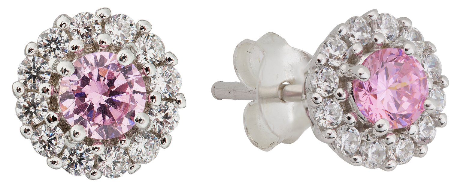 Revere Sterling Silver Pink & Clear CZ Halo Stud Earrings