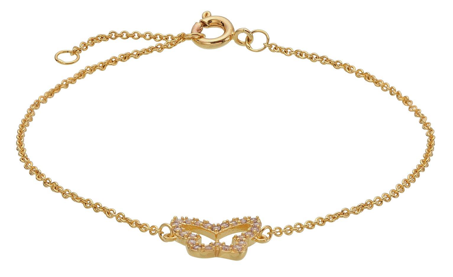 Image of Abbey Clancy Gold Colour CZ Butterfly Bracelet