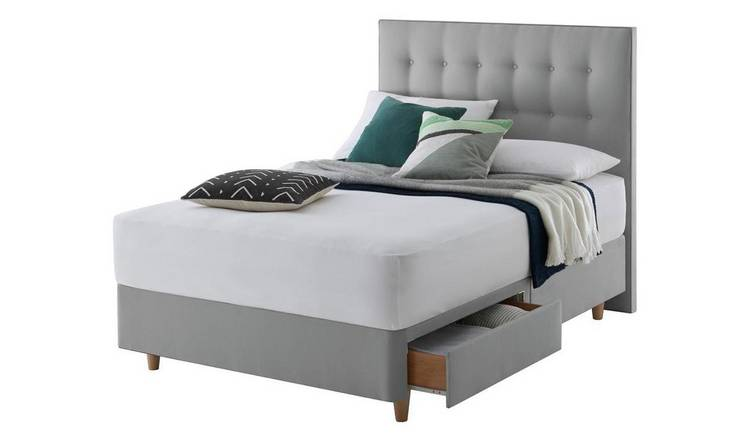 Silentnight Alaro 2 Drawer Kingsize Divan & Headboard - Grey