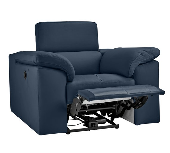 buy hygena valencia leather power recliner chair blue armchairs