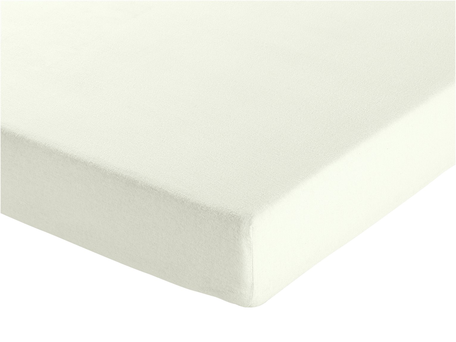 Argos Home Cream Brushed Cotton Fitted Sheet - Kingsize