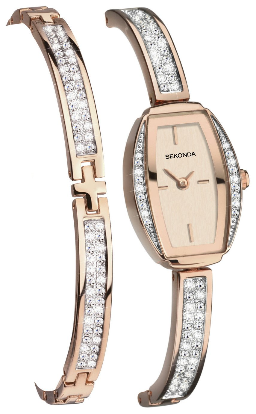 Sekonda Ladies' Rose Gold Plated Watch and Bracelet Gift Set