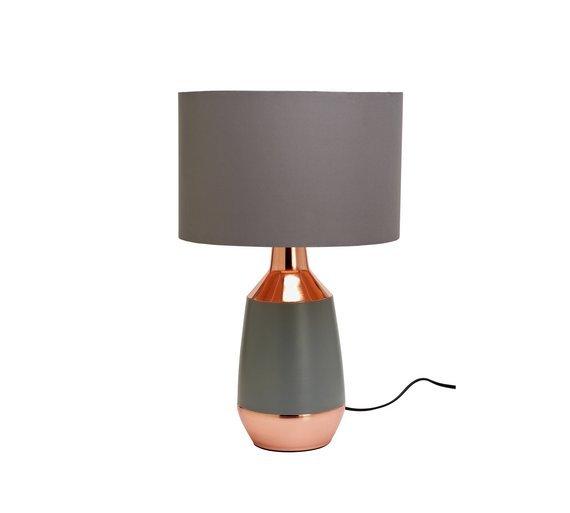 Argos Home Pluto Table Lamp - Grey & Copper