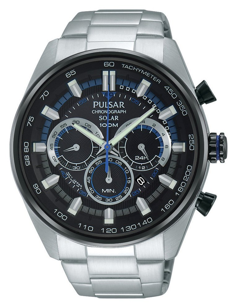 Pulsar Accelerator Men's Silver Stainless Steel Solar Watch