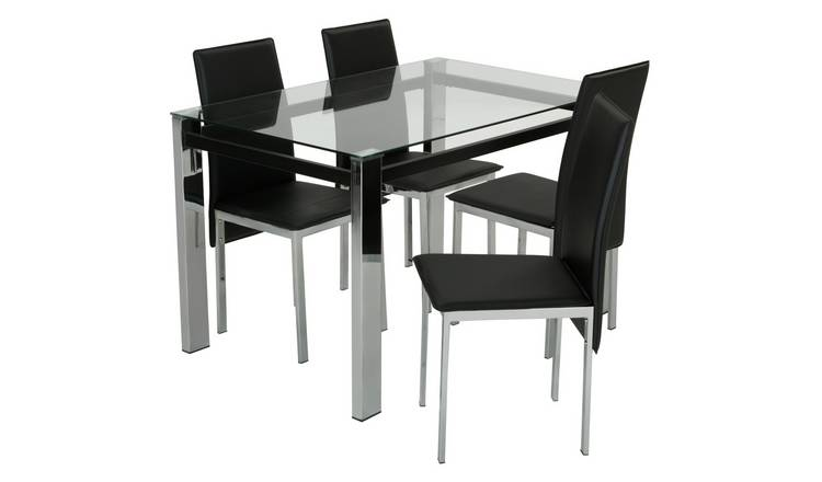 Argos Home Fitz Clear Glass Dining Table & 4 Black Chairs