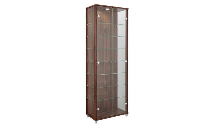 buy argos home 2 glass door display cabinet - walnut effect