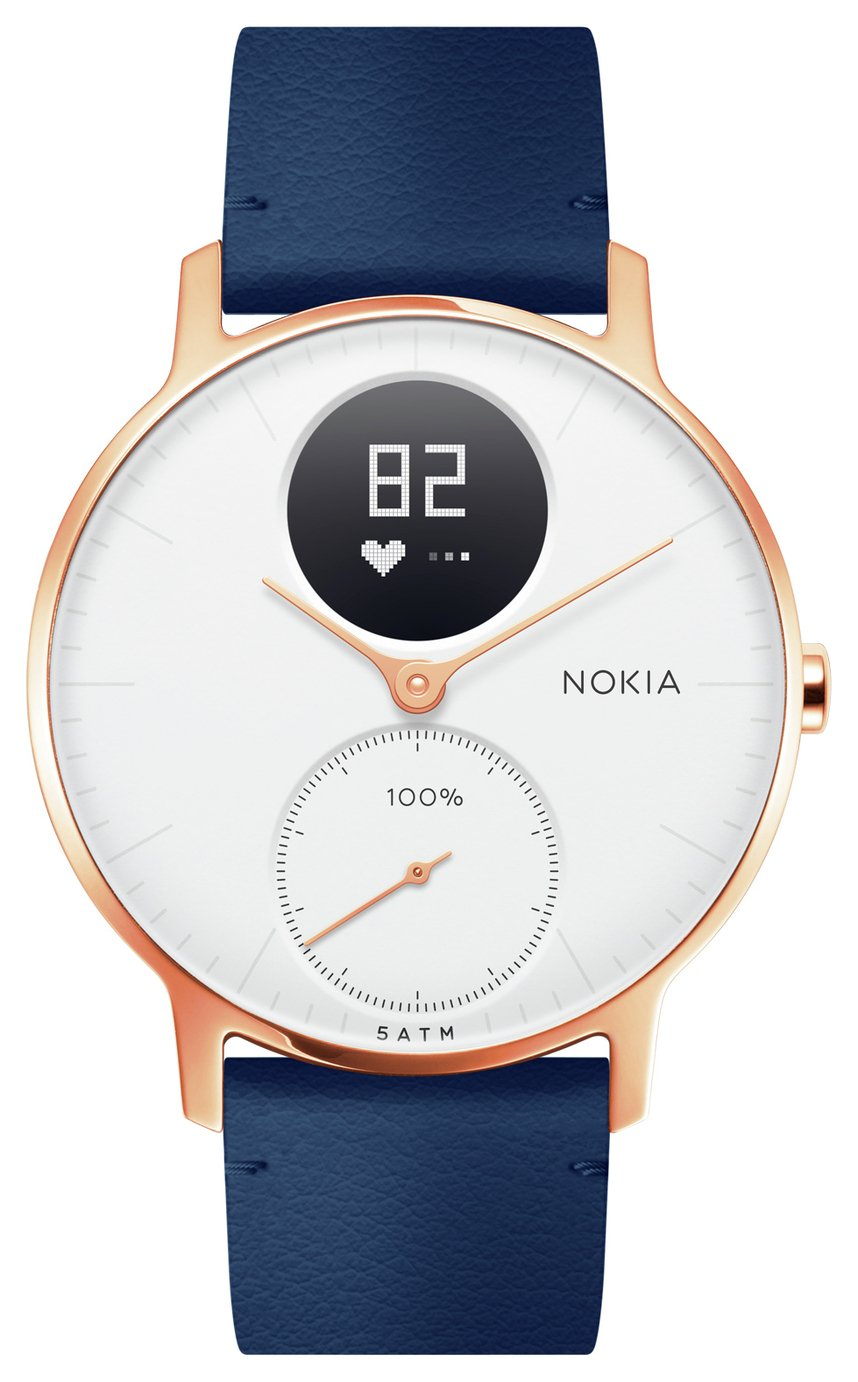 Nokia Steel HR Rose Gold Activity Tracker - Blue Leather