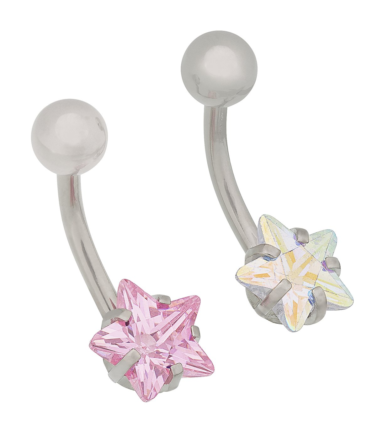 State of Mine Stainless Steel CZ Star Belly Bars - Set of 2