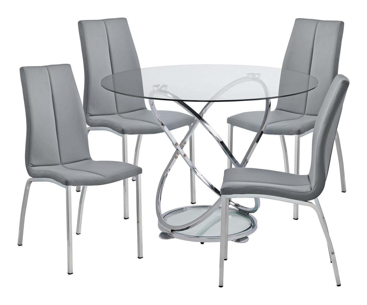 SALE on Argos Home Atom Glass Dining Table & 4 Grey Milo ...