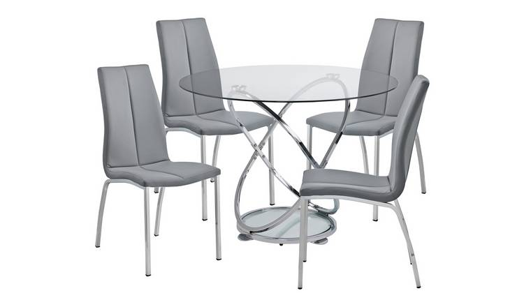 3dfc8048c5 Buy Argos Home Atom Round Glass Table & 4 Chairs - Grey | Dining ...