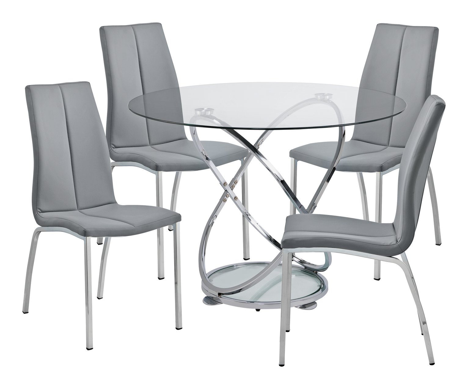 Charmant Buy Argos Home Atom Glass Dining Table U0026 4 Grey Milo Chairs | Dining Table  And Chair Sets | Argos