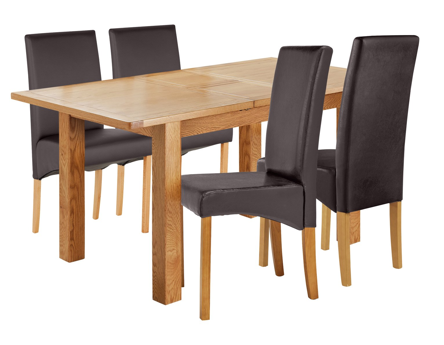 Image of Collection Ashwell Extendable Table & 4 Chairs - Chocolate