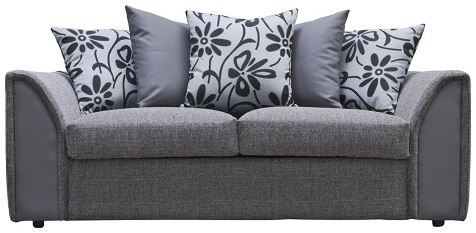 Image of Argos Home Dallas Compact 3 Seater Sofa -Charcoal