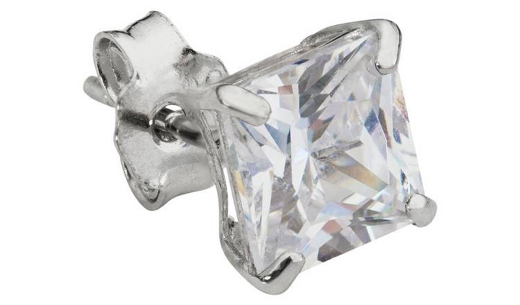 cbb491244 Buy Revere Men's 9ct White Gold Cubic Zirconia Stud Earring | Men's ...
