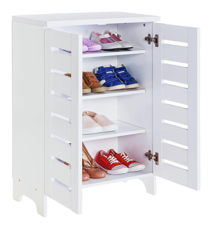 HOME Slatted 2 Door Shoe Storage Cabinet - White