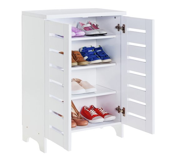 Buy Argos Home Slatted 2 Door Shoe Storage Cabinet White Shoe