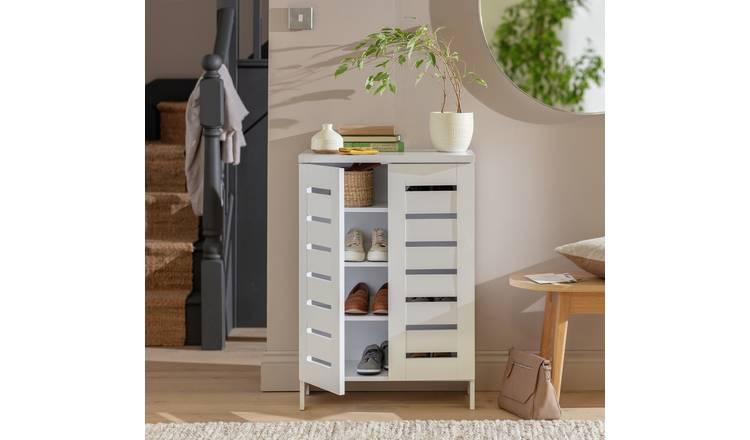 Buy Argos Home Slatted 2 Door Shoe Storage Cabinet White Shoe Storage Argos