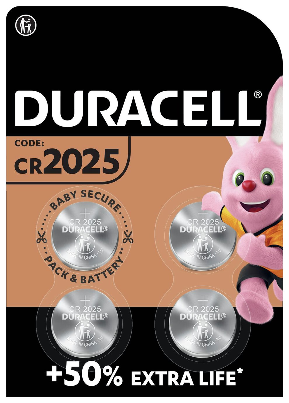 Duracell Specialty 2025 Lithium Coin Batteries - 4 Pack