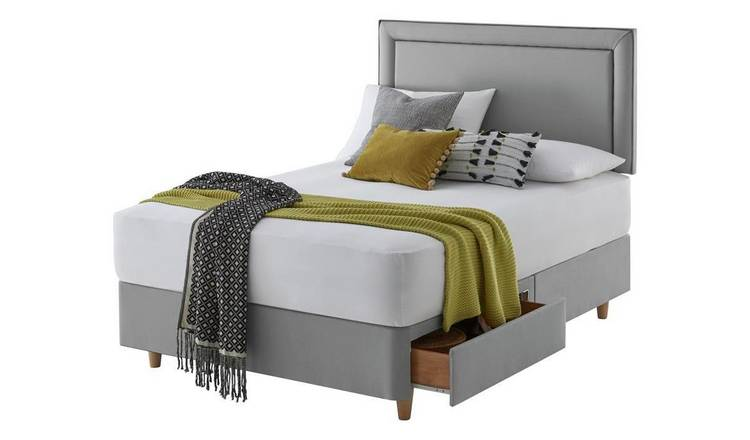 Silentnight Toulouse 2 Drw Double Divan & Headboard - Grey