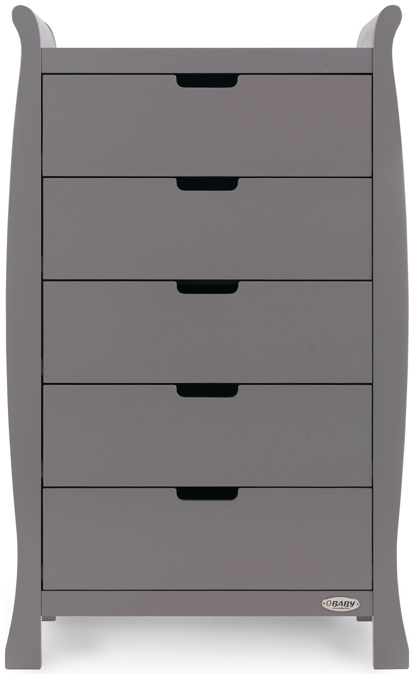 Image of Obaby Stamford Sleigh Tall Chest of Drawers - Taupe Grey