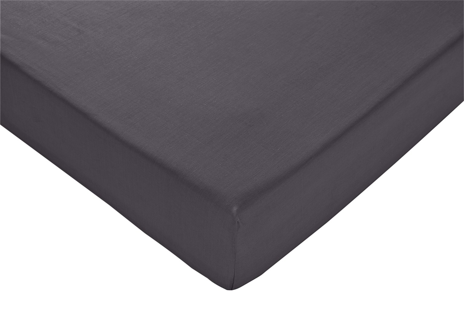 Argos Home Charcoal Cotton Rich Fitted Sheet - Double