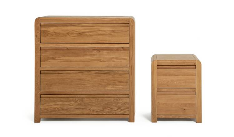 Habitat Novara Bedside & 4 Drawer Set - Oak & Oak Veneer