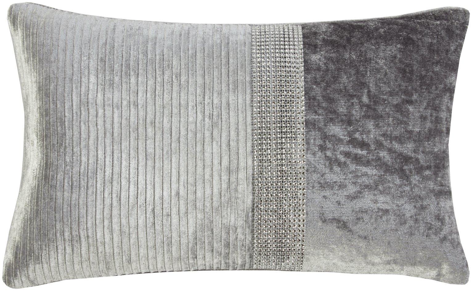 Julian Charles Lia Silver Boudoir Cushion - 50x30cm