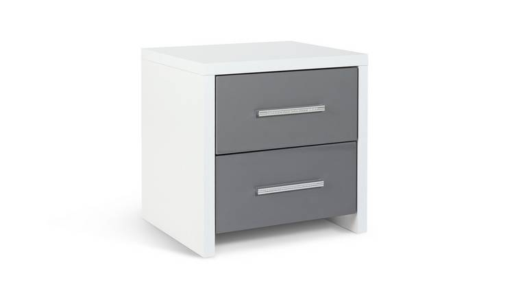 Habitat Broadway 2 Drw Bedside Table- Grey Gloss & White