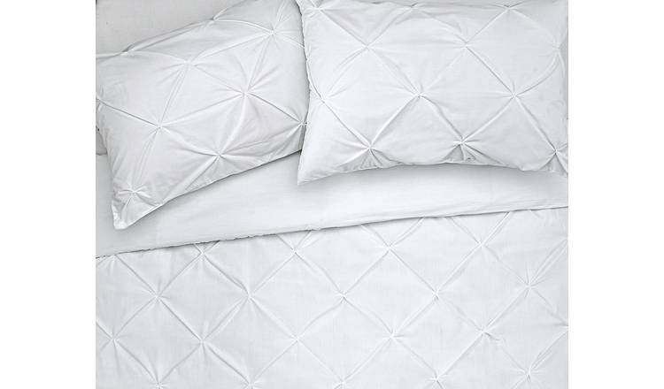Argos Home Hadley White Pintuck Bedding Set - Double