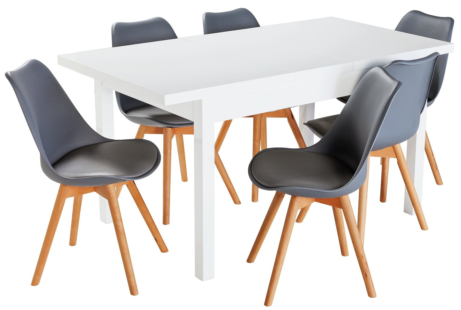 Hygena Lyssa Extendable White Gloss Table & 6 Chairs - Grey