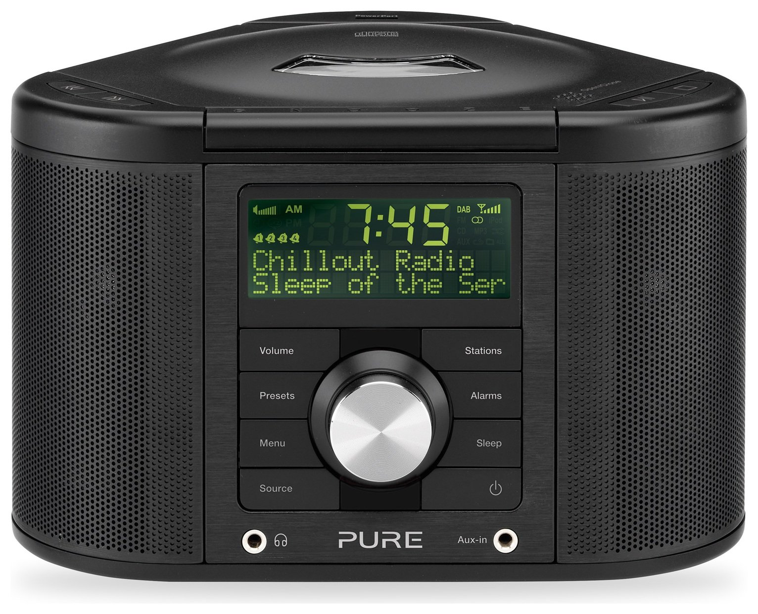 Pure Chronos CD 2 Clock Radio with CD - Black