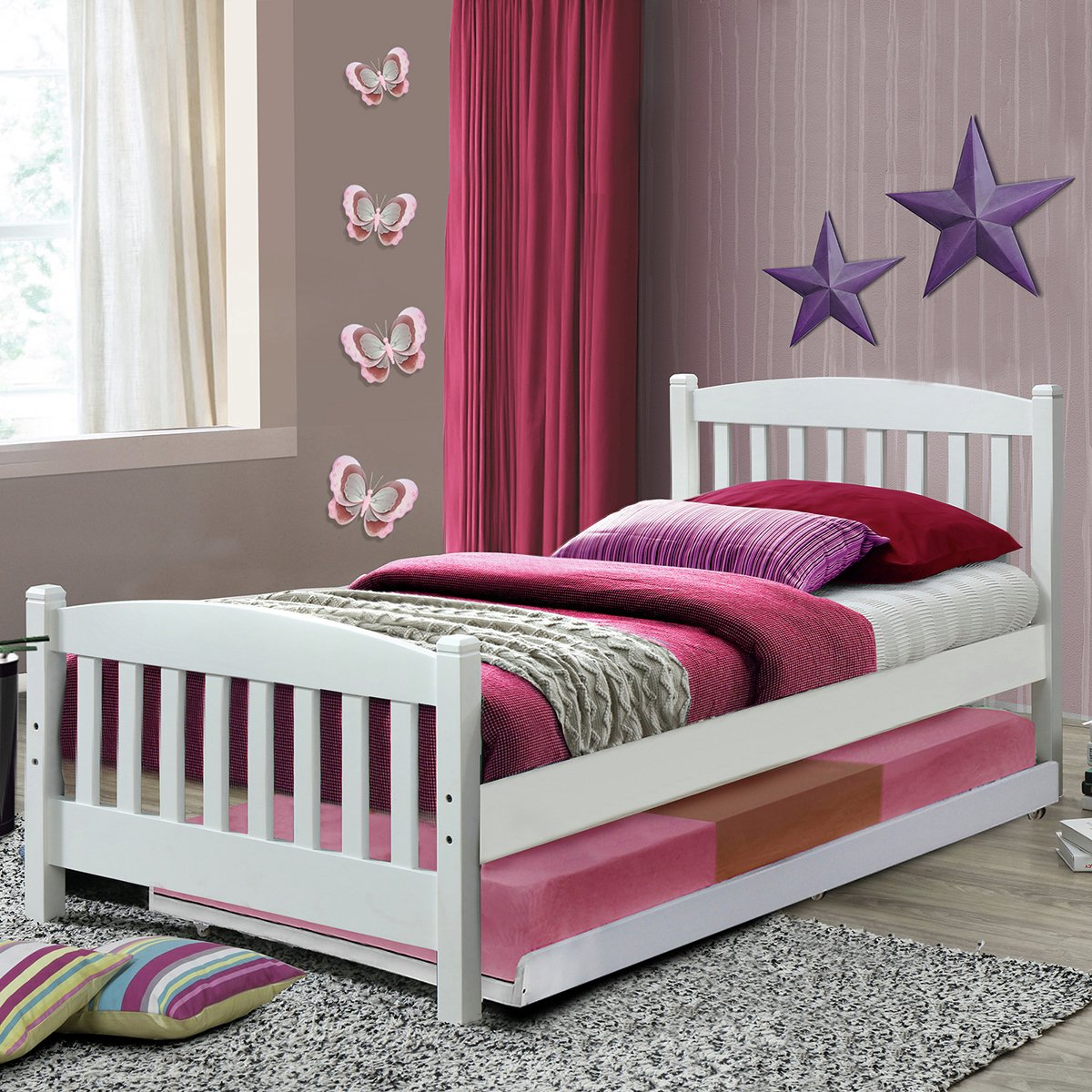 Snowy Single Bed Frame with Trundle