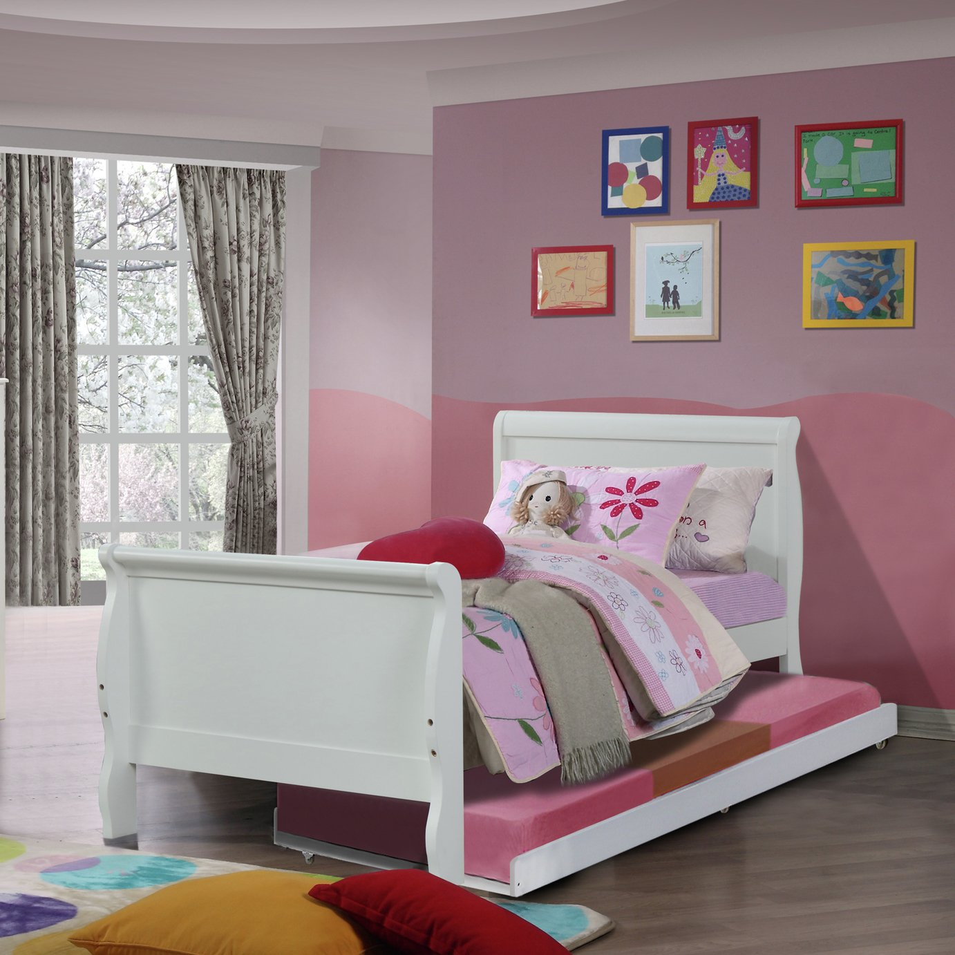 Nevis Single Bed Frame with Trundle Bed