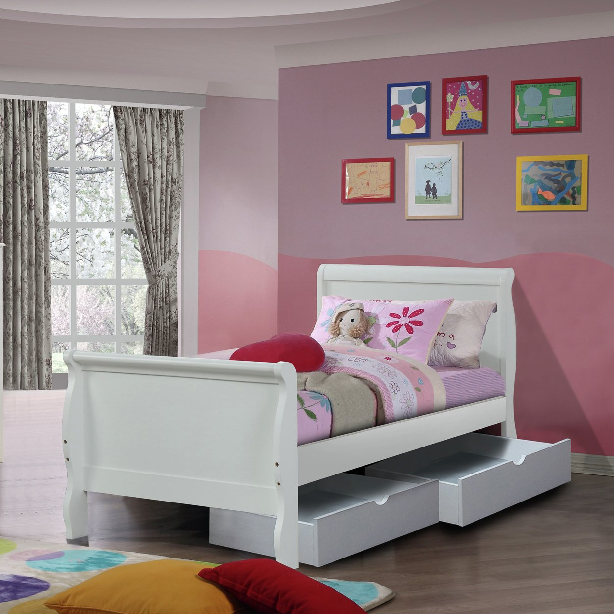 Nevis Single White Bed Frame with 2 Drawers