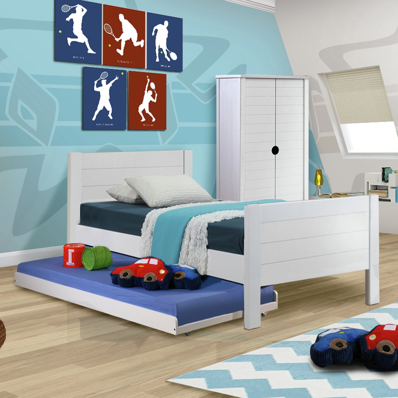 Jango Bed Frame with Trundle Bed - Single