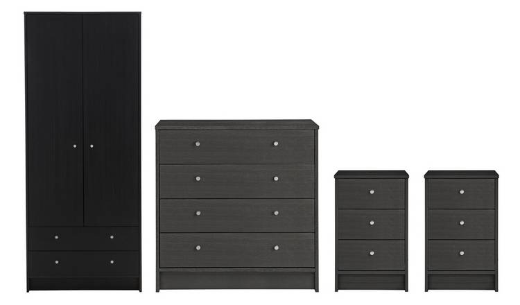 Habitat Malibu 4 Pc 2 Dr Wardrobe Set - Black Oak Effect