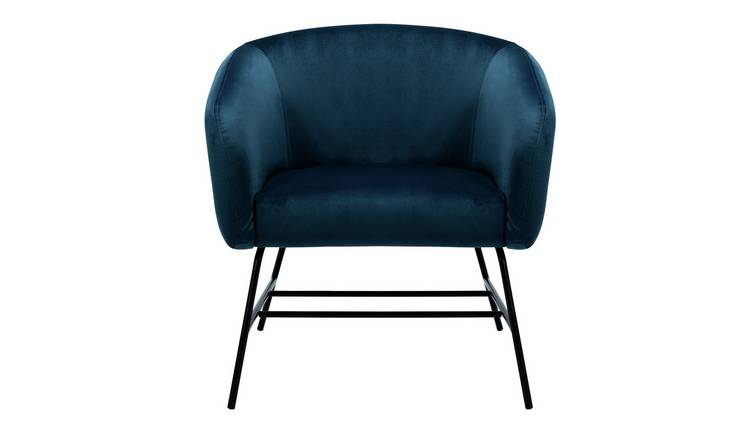 Habitat Freya Velvet Accent Chair - Navy