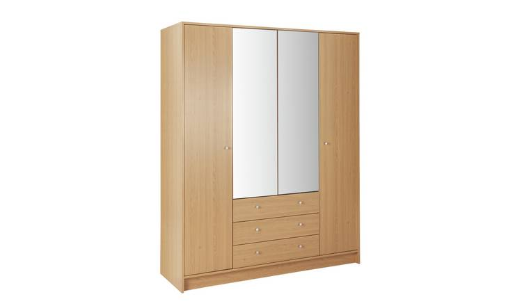 Habitat Malibu 4 Dr 3 Drawer Mirror Wardrobe - Oak Effect