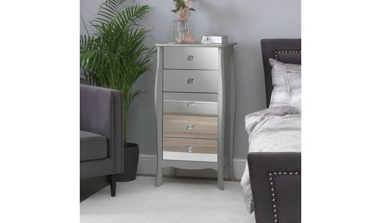 Argos Home Amelie 5 Drawer Narrow Mirrored Chest - Grey
