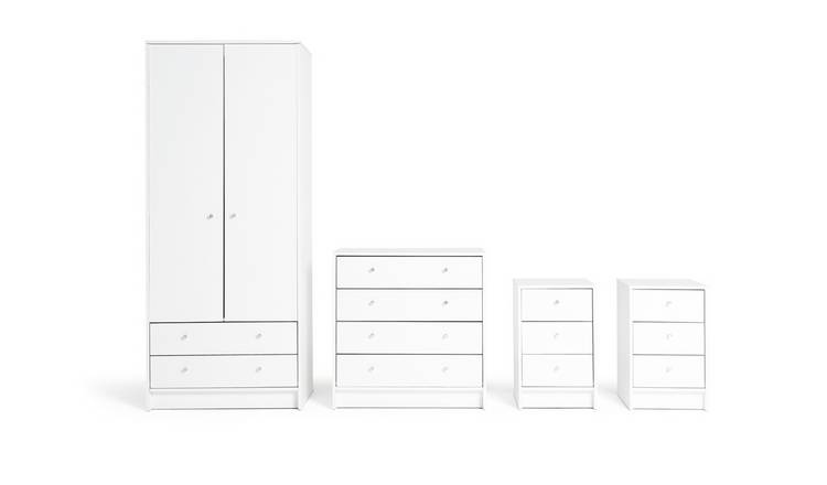 Habitat Malibu 4 Piece 2 Door Wardrobe Set - White