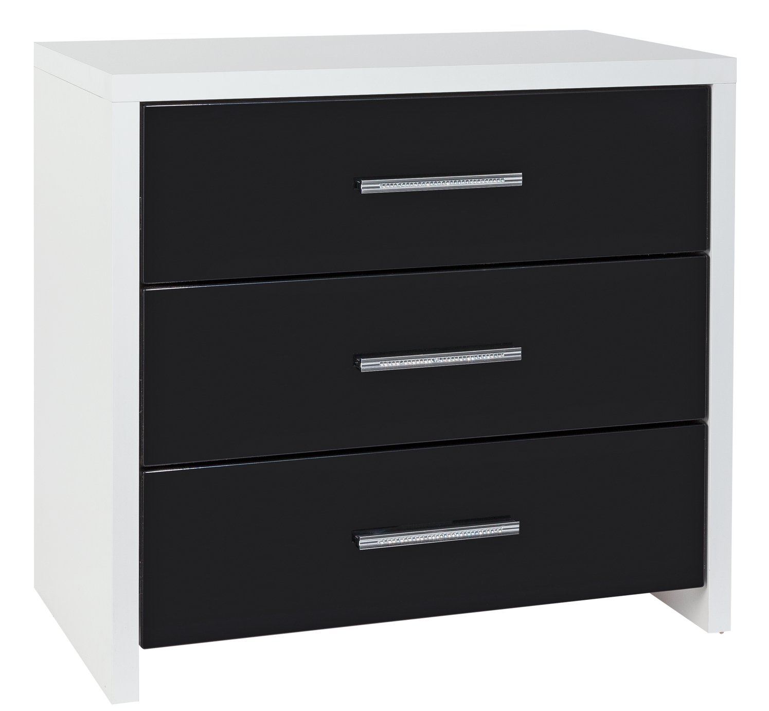 Argos Home Broadway 3 Drawer Chest Black Gloss White