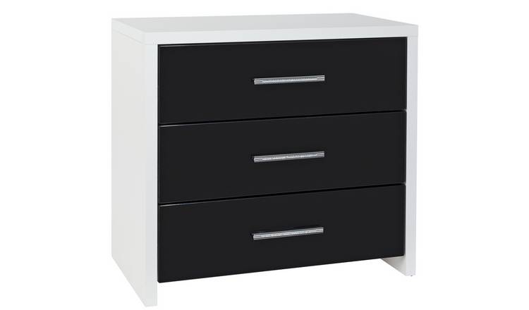 Argos Home Broadway 3 Drawer Chest - Black Gloss & White