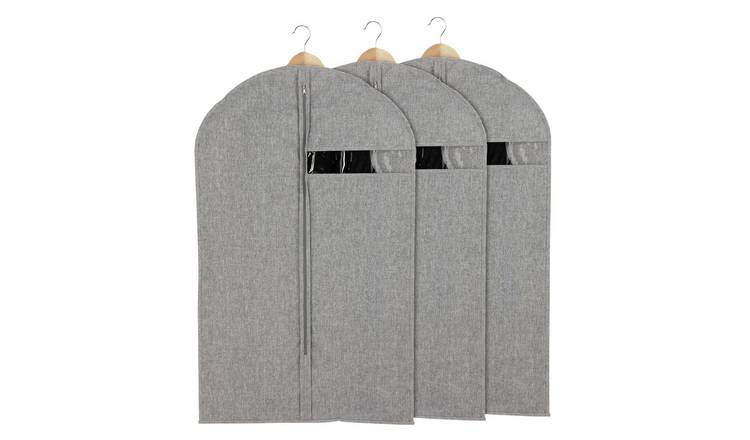 Argos Home Pack of 3 Suit Carriers - Grey