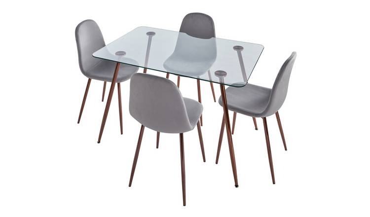 Argos Home Beni Glass Dining Table & 4 Chairs - Grey