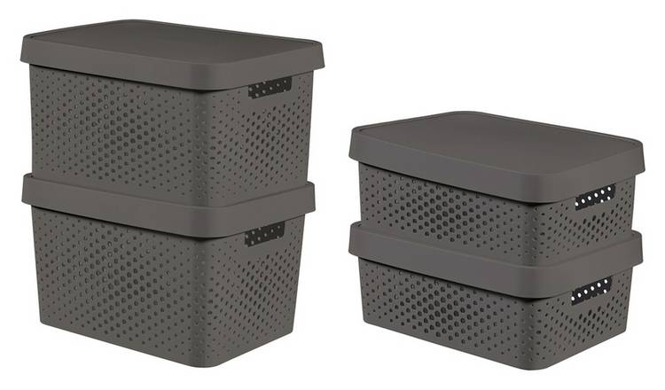 Curver Infinity Dots Set of 4 17 and 11 Litre Boxes - Grey