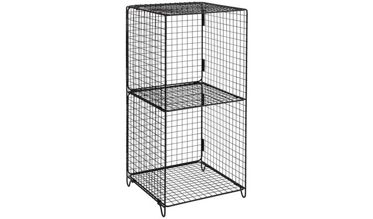 Argos Home Metal  2 Tier Wire Tower - Black
