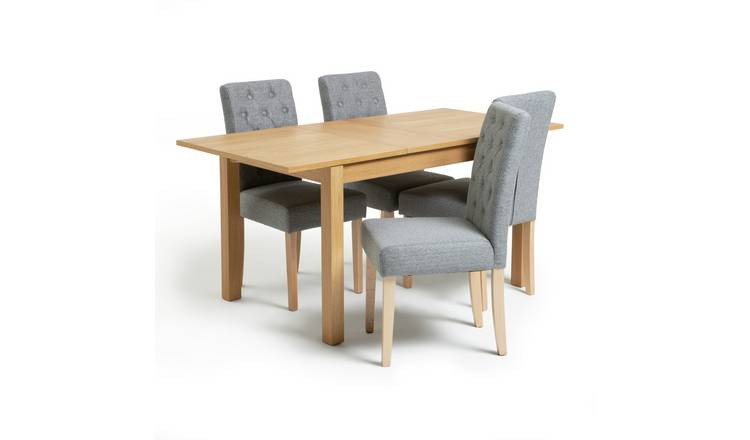 Habitat Clifton Extending Table & 4 Button Chairs - Grey