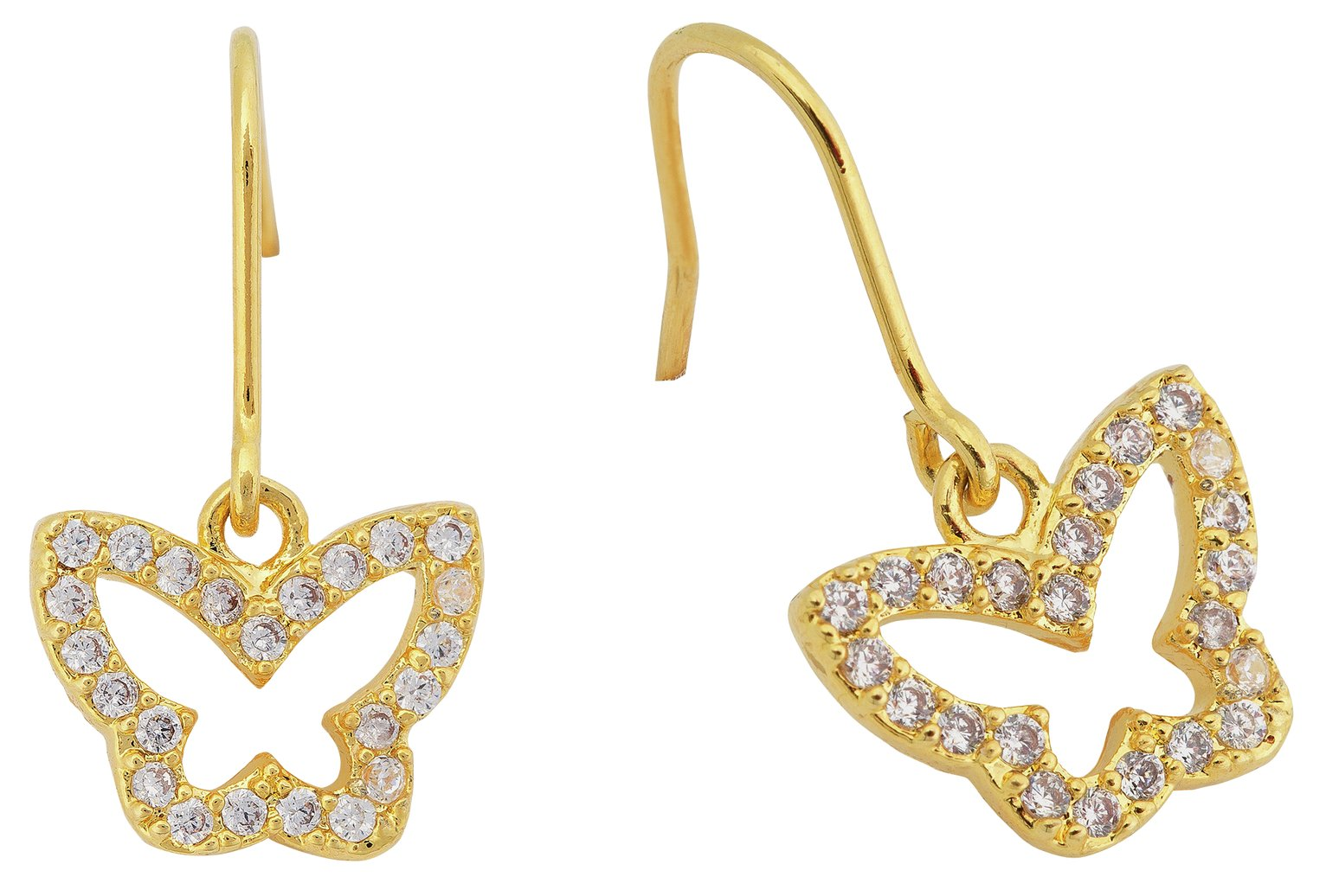 Image of Abbey Clancy Gold Colour Cubic Zirconia Butterfly Earrings