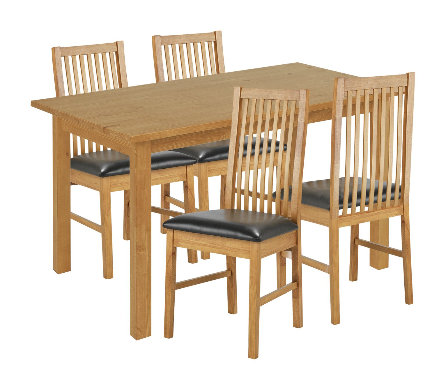 Image of HOME Ashdon Solid Wood Dining Table & 4 Chairs - Grey